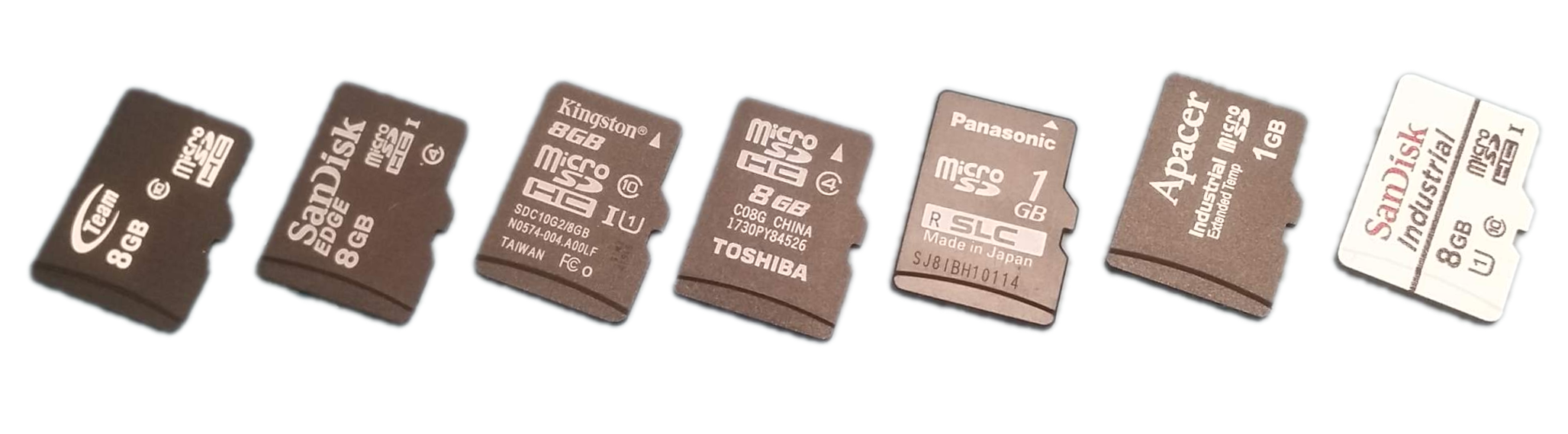 The MicroSD cards used in this benchmark